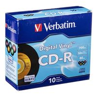 Verbatim Digital Vinyl CD-R 52x 700MB/80 Minute Disc 10-Pack with Slim Jewel Cases
