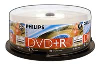 Philips LightScribe DVD+R 16x 4.7GB/120 Minute Disc 25-Pack Spindle