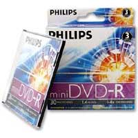 Philips Mini DVD-R 4x 1.4GB/30 Minute Disc 3-Pack with Slim Jewel Cases