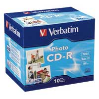 Verbatim CD-R Photo 52x 700MB/80 Minute Disc 10-Pack with Jewel Cases