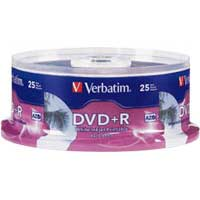 Verbatim Hub Printable DVD+R White 16x 4.7GB/120 Minute Disc 25-Pack Spindle