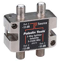Paladin Tools 3-Way Satellite TV Splitter