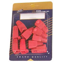 Micro Connectors CAT5e Snagless Cable Boots Red 10 Pack