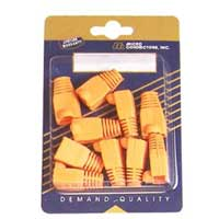Micro Connectors CAT5e Snagless Cable Boots Orange 10 Pack