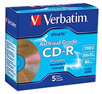 Verbatim CD-R Archival Gold 52x 700MB/80 Minute Disc 5-Pack with Jewel Case
