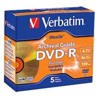 Verbatim Archival Grade DVD-R 8x 4.7GB/120 Minute Disc 5-Pack