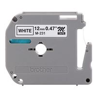 "Brother M231 1/2"" Black on White Tape for P-Touch"