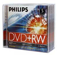 Philips DVD+RW 4x 4.7GB/120 Minute Disc 5-Pack with Jewel Cases