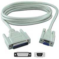 QVS DB-9 RS-232 Serial Male to DB-9 RS-232 Serial Female Adapter Cable 1 ft. - Beige