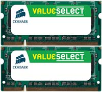 Corsair Value Select 4GB DDR2-667 (PC-5300) CL5 SO-DIMM Dual Channel Laptop Memory Kit (Two 2GB Memory Modules)