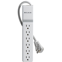 Belkin 6 Outlet  SlimLine  Surge Protector with 6 Foot Power Cord and 360 Degree Rotating Plug - White
