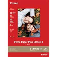 "Canon 8.5""x11"" Photo Paper Plus Glossy II 20-Sheets"