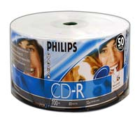 Philips Inkjet Printable CD-R 52x 700MB/80 Minute Disc 50-Pack