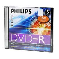 Philips DVD-R 16x 4.7GB/120 Minute Disc 5 Pack
