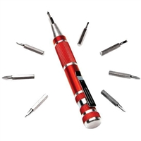 Performance Tools 9-Piece Precision Pocket Screwdriver Red