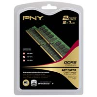 PNY Optima 2GB DDR2-800 (PC-6400) CL5 Desktop Memory Kit (Two 1GB Memory Modules)
