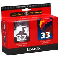 Lexmark 18C0532 #32/#33 Black/Color Ink Cartridges