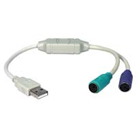 QVS USB 2.0 (Type-A) Male to Mini-DIN (PS/2) for Keyboard and Mouse Adaptor Cable 1 ft. - Beige