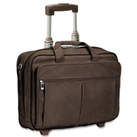 "SOLO Executive 15.6"" Leather Rolling Case - Espresso"