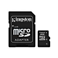 Kingston 4GB Micro Secure Digital High Capacity (micro SDHC) Flash Media Card with Adapter SDC4/4GB