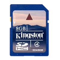Kingston 8GB Class 4 Secure Digital High Capacity (SDHC) Flash Media Card SD4/8GB