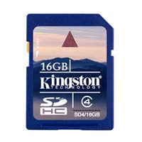Kingston 16GB Class 4 Secure Digital High Capacity (SDHC) Flash Media Card SD4/16GB