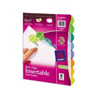 Avery Style Edge Insertable Plastic Dividers 8-Tab Set