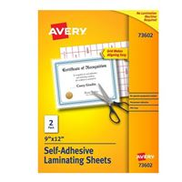 "Avery Self-Adhesive Laminating Sheets 9"" x 12"" 2-Pack"