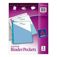 Avery Assorted Binder Pockets Acid Free 5-Pack