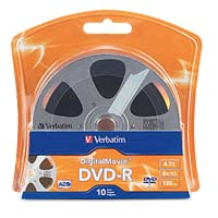 Verbatim DigitalMovie DVD-R 8x 4.7GB/120 Minute Disc 10-Pack