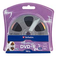 Verbatim DigitalMovie DVD+R 8x 4.7GB/120 Minute Disc 10-Pack