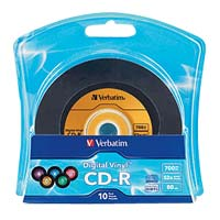 Verbatim Digital Vinyl CD-R 52x 700MB/80 Minute Disc 10-Pack