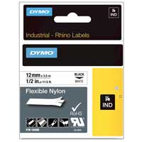 "Dymo Rhino White Flexible Nylon tape 1/2"" x 11-1/2'"