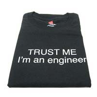 "Ulla Ltd. Designs T-shirt ""Trust Me, I'm an Engineer"" Large - Black"