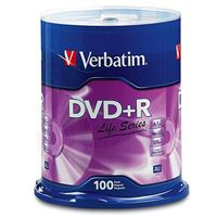 Verbatim Life DVD+R 16x 4.7GB/120 Minute Disc 100 Pack Spindle