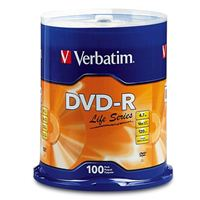 Verbatim Life DVD-R 16x 4.7GB/120 Minute Disc 100 Pack Spindle