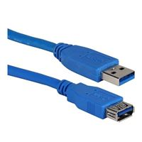 QVS USB 3.1 (G1 Type-A) Male to USB 3.1 (G1 Type-A) Female Adapter Cable 3ft. - Blue