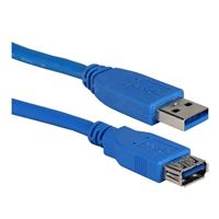 QVS USB 3.1 (G1 Type-A) Male to USB 3.1 (Type-A) Female Adapter Cable 10 Ft. - Blue