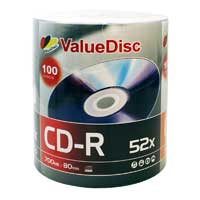 ValueDisc CD-R 52x 700MB/80 Minute Disc 100 Pack