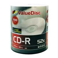 ValueDisc Hub Printable CD-R 52x Discs 100 Pack