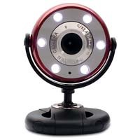 Gear Head Quick 1.3 MP Night Vision WebCam with 6 Foot USB Cable Red