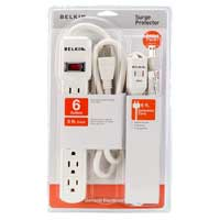 Belkin 6 Outlet Surge Protector 167 Joules with 3 Foot Cord and 6 Foot Extension Cord Combo - White