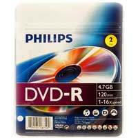 Philips DVD-R 16x 4.7GB/120 Minute Disc 2 Pack