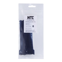 "NTE Electronics Hook and Loop Cable Ties 6"" Black 10 pack"