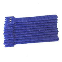 "NTE Electronics Hook and Loop Cable Ties 6"" Blue 10 pack"