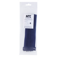 "NTE Electronics Hook and Loop Cable Ties 8"" Black 10 pack"