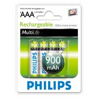 Philips MultiLife Rechargeable AAA Batteries - 900mAh Nickel-Metal Hydride 4-Pack