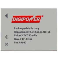 Digipower BP-CN6L Replacement Li-Ion Battery for Canon NB-6L
