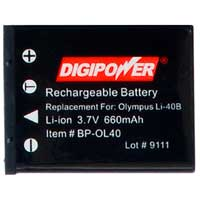Digipower BP-OL40 Replacement Li-Ion Battery for Olympus Li-40B