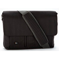 BBP Bags Expand-It Laptop Messenger Black Pinstripe 13""